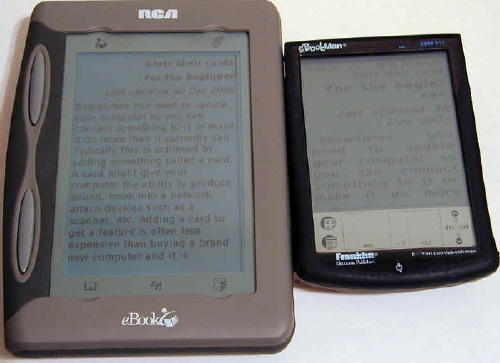 REB beside eBookman (large vs large text)
